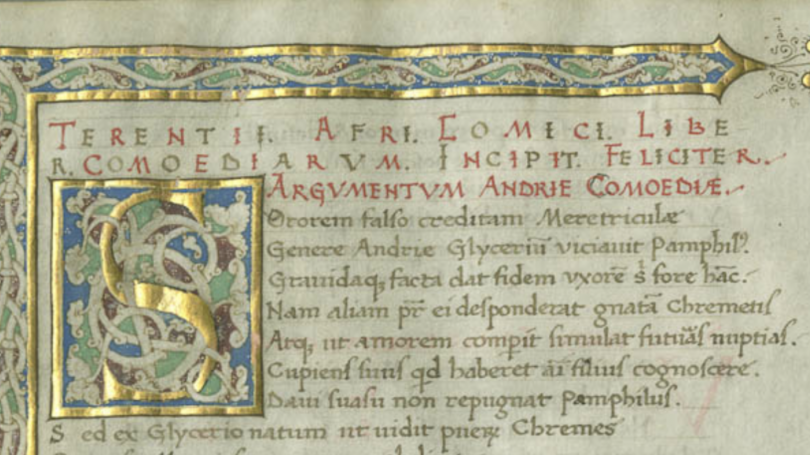 Page of a Latin manuscript in Rauner Library