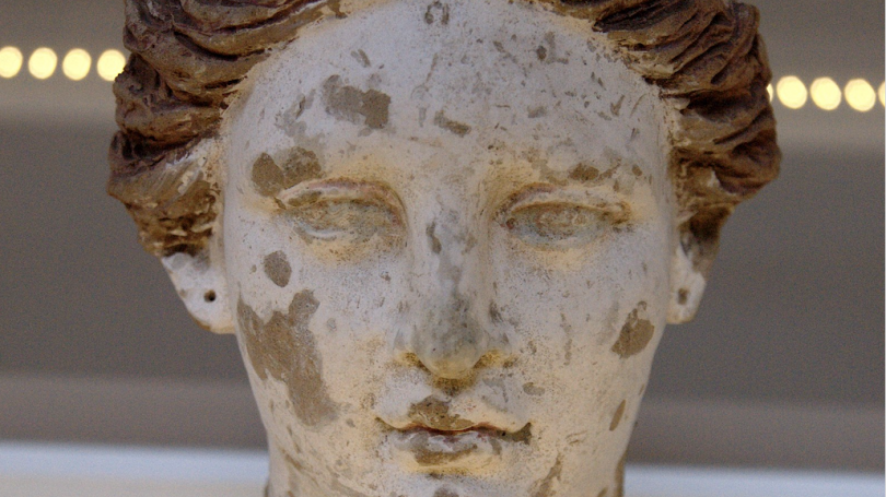 Ancient Greek terracotta woman head from Taranto, end of 4th century BC