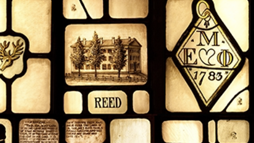 A stained glass image showing Reed Hall